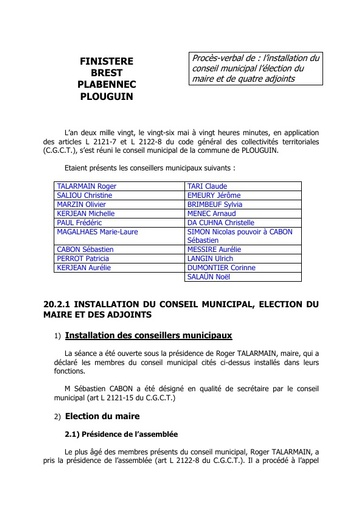 Conseil municipal du 20 mars 2020