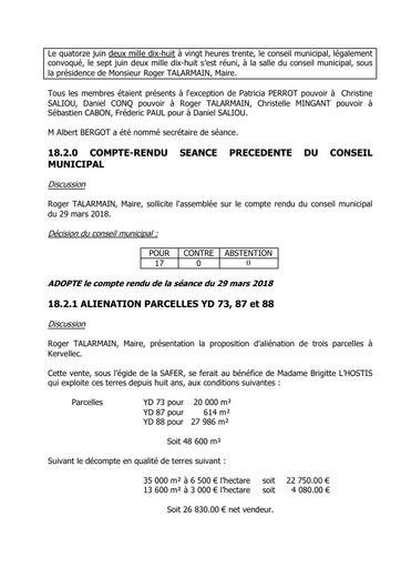 Conseil municipal du 14 juin 2018