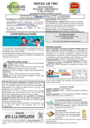 Mouez ar Vro 996 du 7 septembre 2018