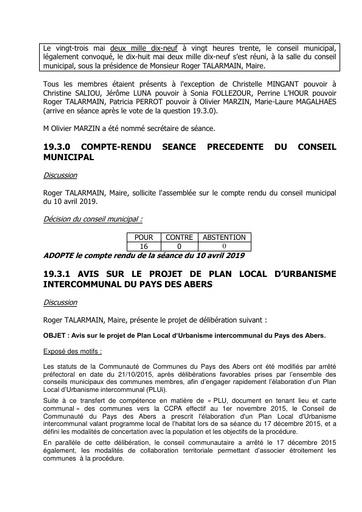 Conseil municipal du 23 mai 2019