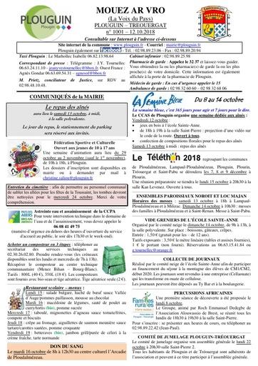 Mouez ar Vro 1001 du 12 octobre 2018