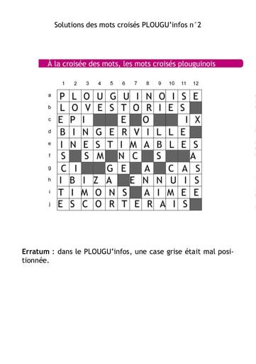 PLOUGU'infos n°2 - Solution des mots croisés