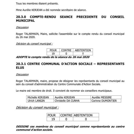 Conseil municipal du 24 juin 2020