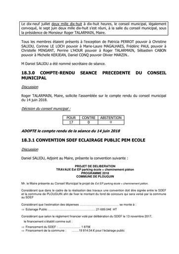 Conseil municipal du 19 juillet 2018