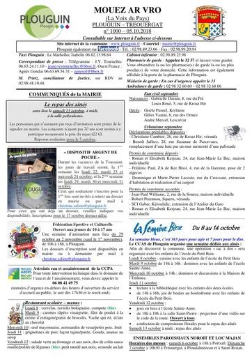 Mouez ar Vro 1000 du 5 octobre 2018